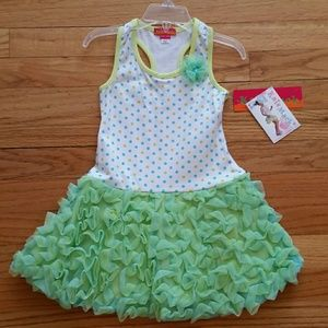 Kate Mack Other - Kate Mack NWT Green & White Ruffle Dress