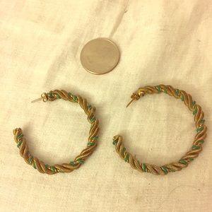 Vintage Jewelry - Gorgeous & Unique Vintage Gold/Green Hoop Earrings