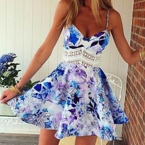 Crochet floral mini dress.