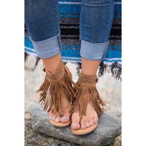 Fringe Boho Chic Gladiator Embellished Sandal
