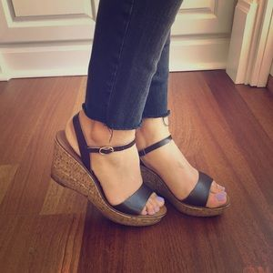 J. Crew Cork wedges brown leather sandals