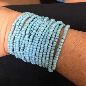 Jewelry - Blue beads and wood multi-strand bracelet