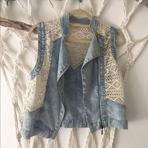 Love Riche Jackets & Blazers - Denim and crochet vest
