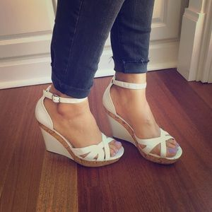 Bakers Shoes - Bakers cork wedges and white leather sandals