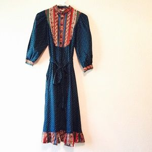 Incredible vintage paisley bohemian dress small