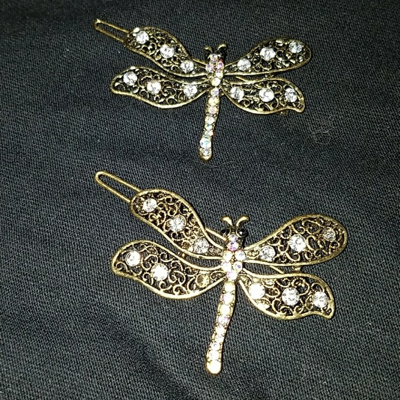 Crystal Pave Vintage Inspired Dragonfly Hair Clips cbd9446a045a