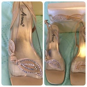 Anniel Shoes - Gold and Rhinestone shoes