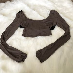 A+ Ellen Tops - Brown CropTop with Faux Leather on Back