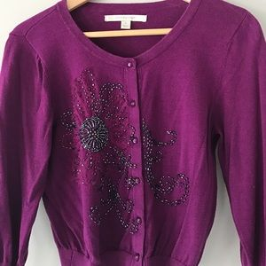Plum Beaded Cropped Cardigan Size S 💜