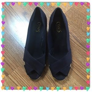 Chaps Shoes - Navy Wedge Slip Ons