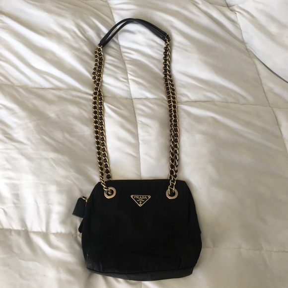 62acf5bce4b7 ... france prada milano black nylon and leather chain purse de123 aee12