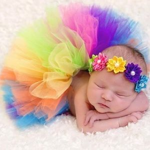 Other - Baby Girl Rainbow Tutu & Headband Set Photo Prop