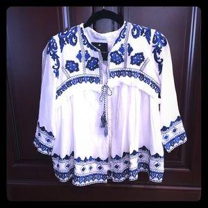 goodnight macaroon Jackets & Blazers - Lightweight blue/white tie jacket
