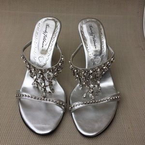 Beverly Feldman Shoes - Beverly Feldman Silver Rhinestone Heels