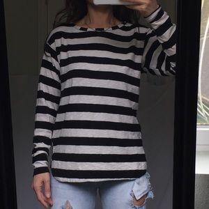 Zara Black and White Stripe Long Sleeve Medium