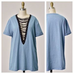 clmayfae Tops - *LAST2* Blue Lace Up Tee