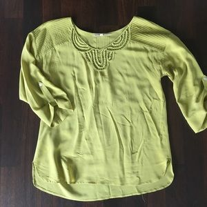 Anthropologie chartreuse silk blouse