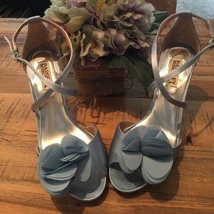 Badgley Mischka Shoes - Badgley Mischka blue satin sandal heels