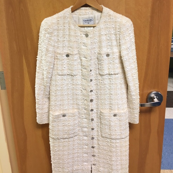 3be40dc0e08c CHANEL Jackets & Coats | Vintage Cream Tweed Wool Jacket | Poshmark