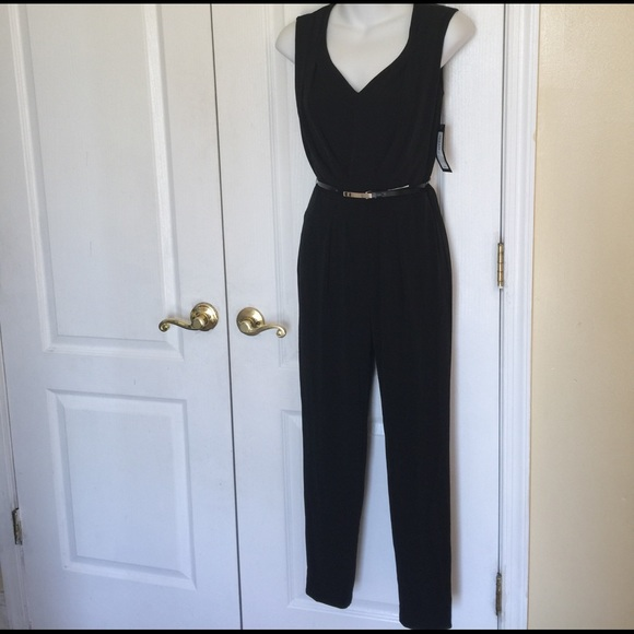 42bbcbec6b40 Worthington Sleeveless Belted jumpsuit Petite blk