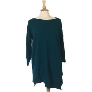 Sweaters - Teal Boho Asymmetrical Sweater