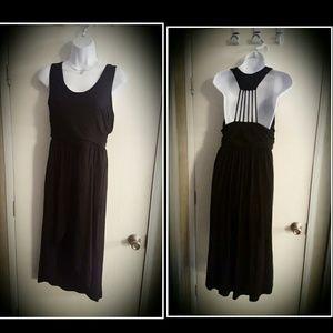 Vanity Dresses & Skirts - Caged Back Maxi Dress Black LBD Asymmetric Slit Lg