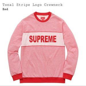 Supreme Other - Supreme SS17 Tonal Striped Logo Crewneck Sweater L