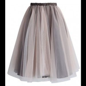 Amore Mesh Tulle Skirt in Taupe, new unworn