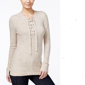 kenzie Sweaters - KENZIE lace up front sweater