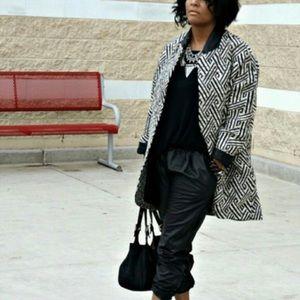 Zara Jackets & Blazers - ZARA Black White Geometric Jacquard Jacket Coat