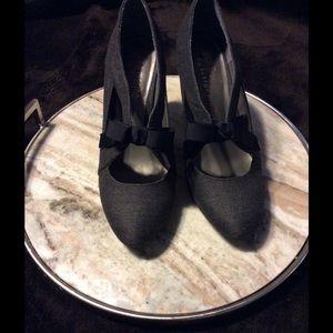 Ann Marino Shoes - Like New Ann Marino Grey Herringbone Mary Janes