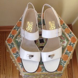 Salvatore Ferragamo Shoes - Ferragamo white sandals made in Italy