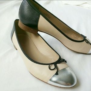 J. Crew Shoes - J. Crew Ballet Flats Kiki Contrast Metallic CapToe