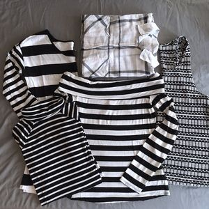 black & white assorted tops