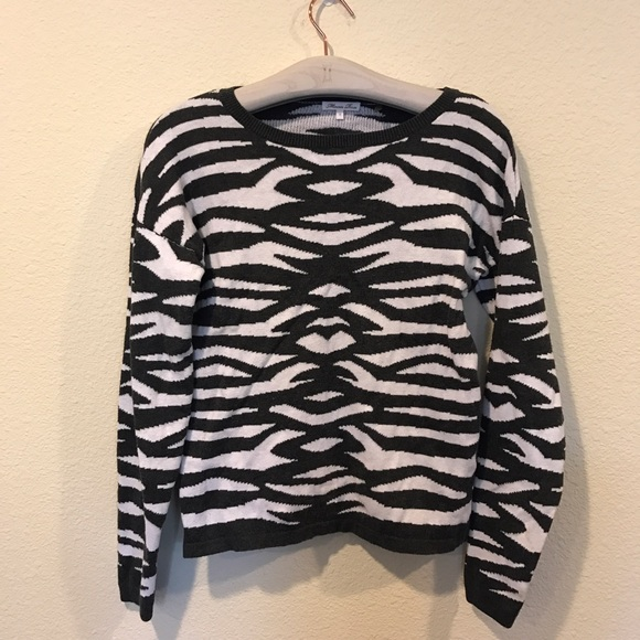 Minnie Rose Sweaters - Zebra print crew neck sweater