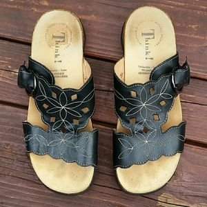 Think! Black Leather Sandals - SIZE 38