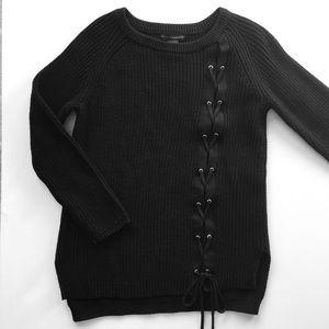 Grace Elements Sweaters - Black cotton lace-up sweater- NWT- size medium.
