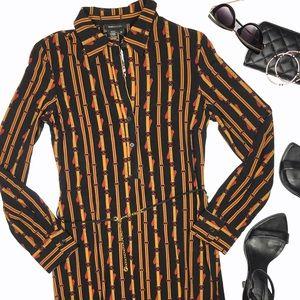 NWT BCBG Max Azria Black Chain Print Shirt Dress