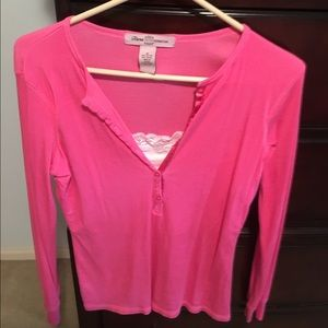 Tiara Tops - Beautiful Pink Top with lace insert