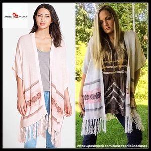Nordstrom Sweaters - Long Cardigan Boho Fringe Trim Cardi