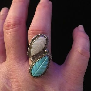 Jewelry - Vintage Sterling Silver MOP & Turquoise Ring