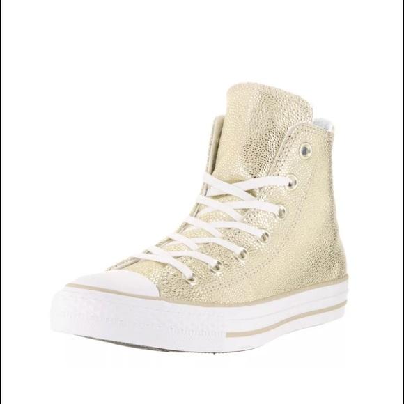 Converse Stingray Metallic Light Gold Hi Tops 8 NWT