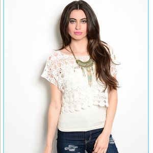 Hera Collection Tops - White Crochet Top