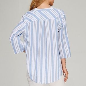Bellanblue Tops - LEVI hi low button down top - BLUE
