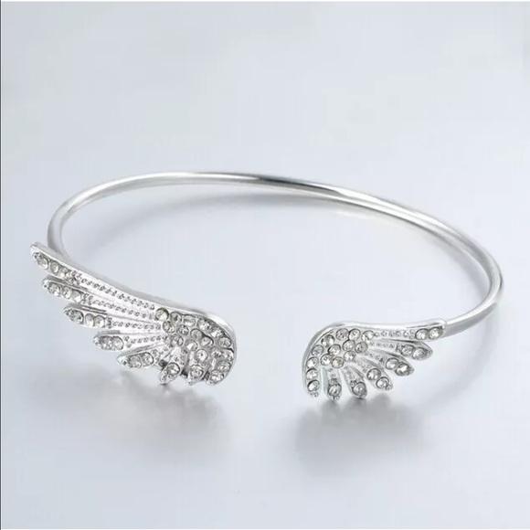e662f359f751 Silver crystal wings bracelet bangle cuff wing