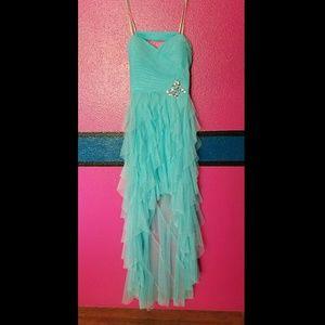 Hailey Logan Dresses & Skirts - Strapless Hi-low Ruffled Teal Dress - 7/8