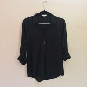 Mine  Tops - MINE Black Button Up Shirt Small