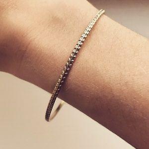 Vintage brass thin tribal bangle bracelet