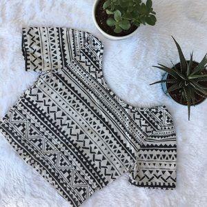 Nollie Tops - Aztec Crop Top Shirt Short Sleeve