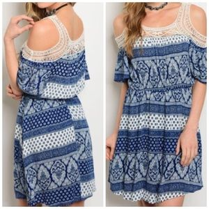 WILA Dresses & Skirts - 🎈🤗🙋🏻 PRICE DROP Blue and White Lace Dress